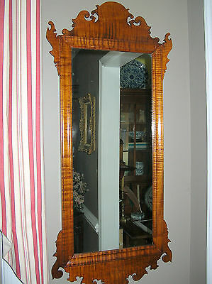 Antique 19Th Century Large Tiger Maple Chippendale Mirror