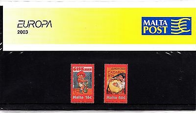Malta 2003 Europa Art Presentation Pack SG 1304 - 1305 Unmounted Mint