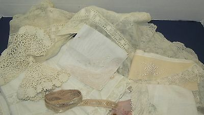 Antique Elegant lot - LACE TRIM, collars, crochet, wedding hankies ect. LOT #102