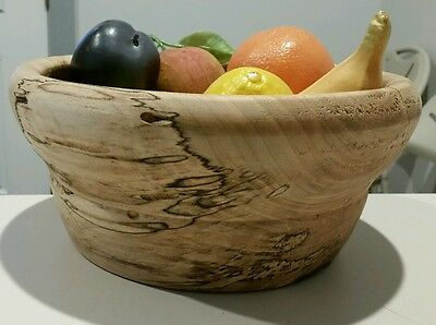 unique solid handmade wooden wood bowl with fruits
