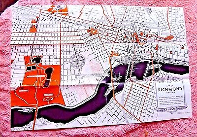 Vintage Lovely Pictorial Map Richmond Virginia 1933