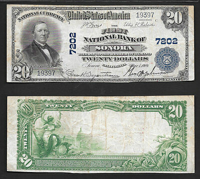 Very Scarce  $20 1902  Sonora, California  Ch#7202 Nice Mid/grade