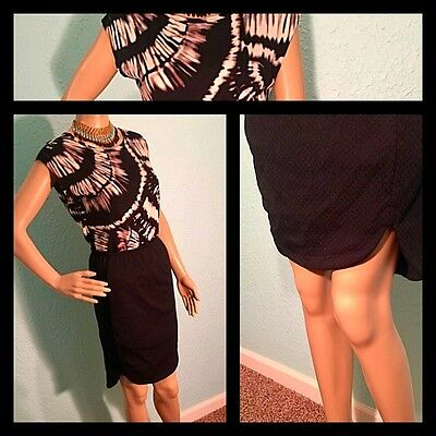Women's Business Casual Spring Outfit S M pencil skirt Black White Blouse 2pc