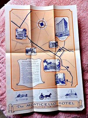 VINTAGE LOVELY PICTORIAL MAP CHARLOTTESVILLE VIRGINIA HOTEL MONTICELLO 1930's