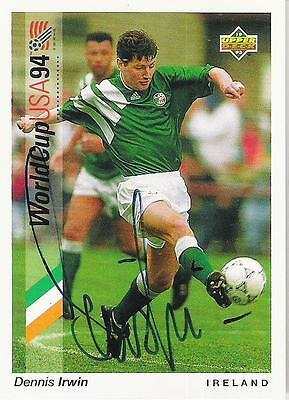 An Upper Deck World Cup USA 1994 card signed by Dennis Irwin of Ireland.