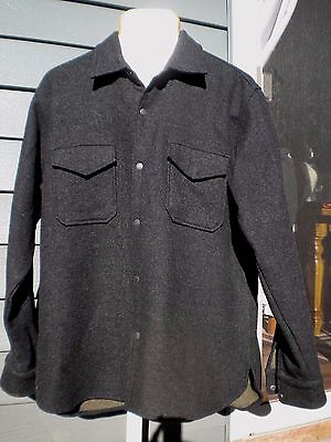 Mens J Crew Wool Viscose Snap Front Dark Gray University Coat Jacket Shirt M