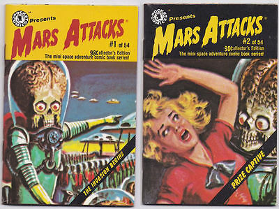 SET OF 2: Mars Attacks MINI COMIC BOOKS #1 & #2 (Pocket Comics/Topps 1988)