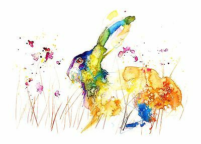 Watercolour floral hare painting print modern art,wall decor,gift