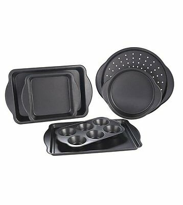 6PC Non Stick Baking Set Cup Cake Muffin Tin Dish Roasting Tray Pizza