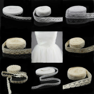 5m Vintage Embroidered Lace Edge Trim Ribbon Wedding Applique Sewing Craft Gift