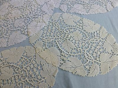Vintage antique style hand made needlepoint lace tablemats x 5