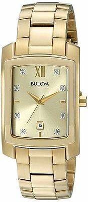 Bulova Mens 97D107 Gold Finish Diamond Watch with Quartz Movement