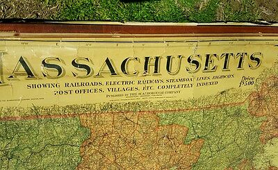 Antique Scarborough's 1903 Massachusetts Railroad Wall Map 58 X 39