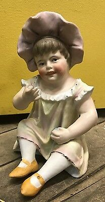 Precious Antique German  Bisque Porcelain Piano Baby 7 1/2""