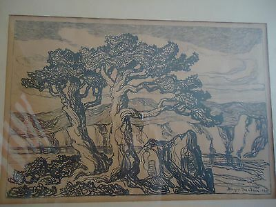 """Birger Sandzen Pencil Signed Matted And Framed  """"arroyo With Trees"""""""