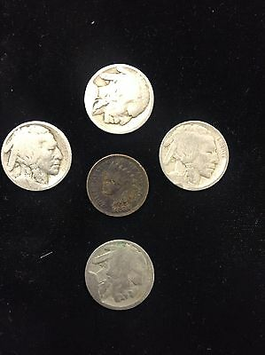 Average Circulated Dateless & Cull Buffalo Nickels and Indian Cent Lot