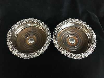 Pair Of English Antique Silver Plated Wine Coasters