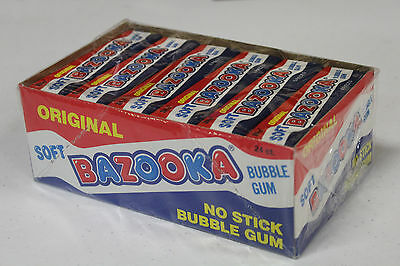 FULL BOX: rare SOFT BAZOOKA nos 1987 vintage TOPPS candy w/ 24 count BUBBLE GUM