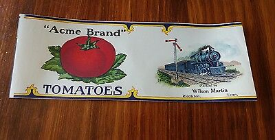 "Vintage ""acme Brand"" Tomatoes Label W/ Steam Engine"