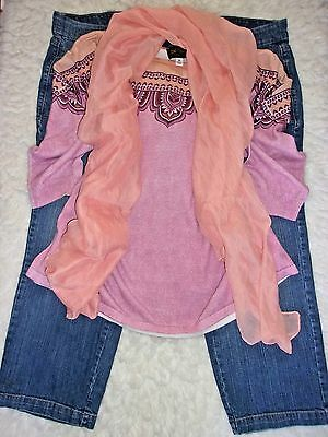 Women's Plus Clothing Lot Old Navy Cropped Jeans  Knit Top  Scarf  size 20/2X