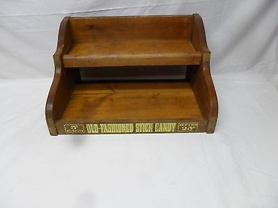 Vintage Old Fashioned Stick Candy Wooden Store Display Case 2 Tier Shelf Wood