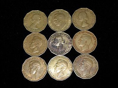 Great Britain - Lot of 9 circulated 3 Pence coins - 1941-1962