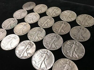 Estate Lot of 5 Walking Liberty Silver Half Dollars 90% Silver