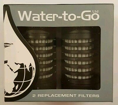 WATER TO GO 75 cl 2 Replacement FILTERS Twin Pack for Water Bottle Sport Travel