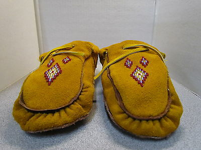 Beautiful Authentic Native American Beaded Moccasins- 9 Inches Leather Wow