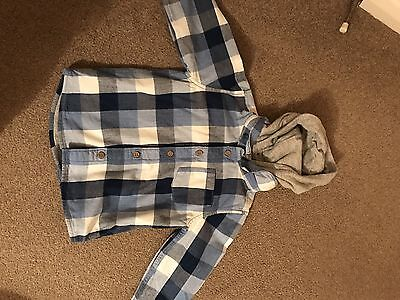 Baby Boys 9-12 Months Removable Hooded Check Shirt