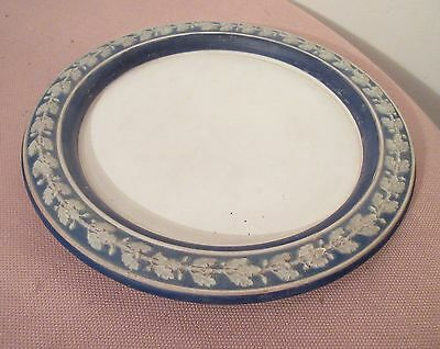 antique thick signed Wedgewood ornate blue porcelain cake display plate charger