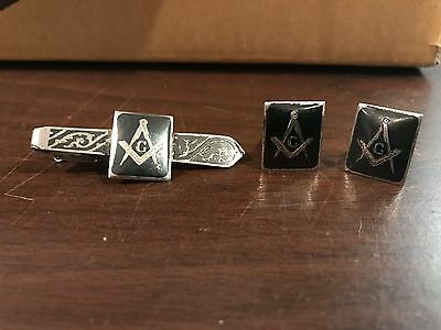 Sterling Silver Masonic Tie Clip and Cuff Links Vintage Antique Mason Freemason