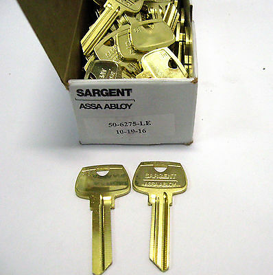 (Box of 50) Sargent Assa Abloy 6275LE 6 pin Brass Key Blanks  (MMM2)
