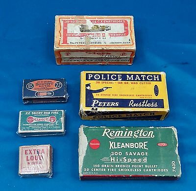 Lot of 6 Vintage Empty Ammo Boxes, Remington, Peters, USCC, Winchester