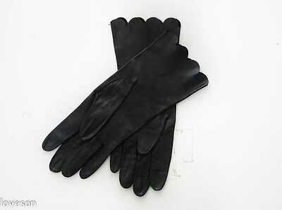 DESIGNER New Black Very Soft Leather Wrist Gloves Not Lined Size 7