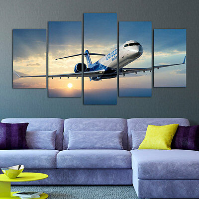 FRAMED AIRPLANE CANVAS Print Modern Wall Art Pictures for Living ...