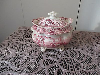Chic Red White Transferware Dish/lid English Shabby Cottage Unmk Vintage
