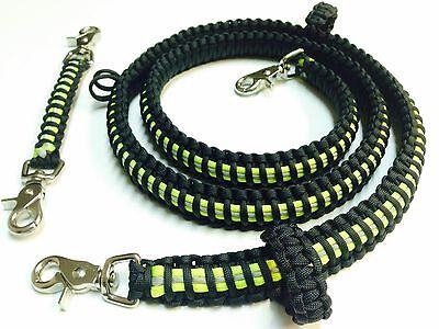 "Paracord Firefighter Radio Strap 57"" Black With Lime Triple Trim"