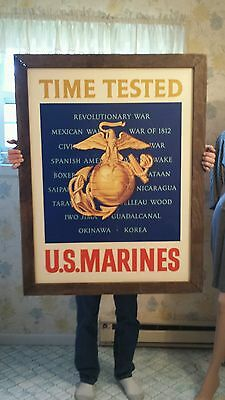 1950's US MARINES Recruit Center Sign DOUBLE SIDED PORCELAIN GREAT CONDITION!