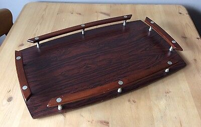 Vintage Retro Rosewood Style Serving Tea Tray Great Condition