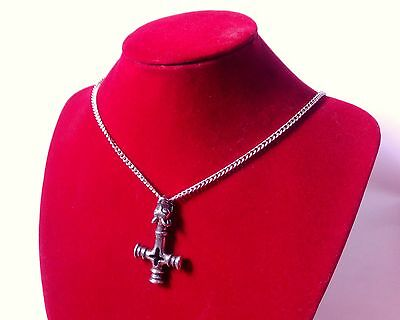 Large Viking Dragon Hammer Cross Amulet Pendant on Chain in Fine Pewter