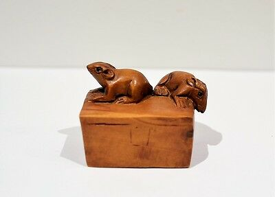 Japanese Netsuke MICE ON BOX Carving Signed