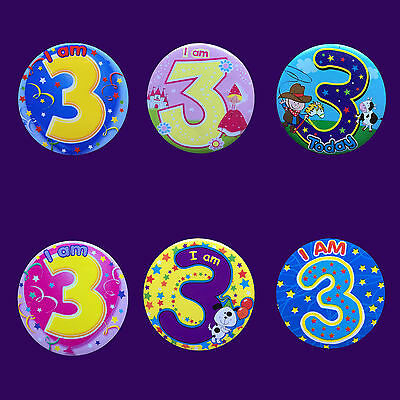 AGE 3 3rd BIRTHDAY BADGE PARTY GIFT PRESENT FOR BOY GIRL SMALL BADGE