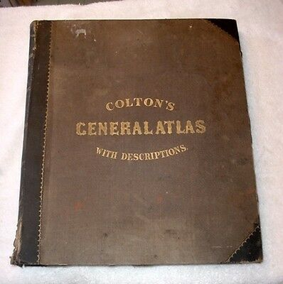 1857 Colton's General Atlas With Descriptions Complete & Intact  Clean