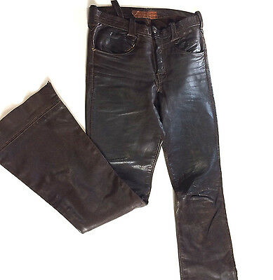 VTG 1970s EAST WEST MUSICAL INSTRUMENTS FLARED LEATHER PANTS JEANS HIPPY