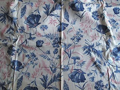 Vintage 1930s Cotton Floral Fabric - Blue Flowers - Dressmaking