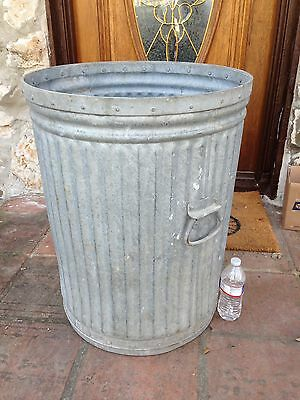 """Antique 27"""" Large And Heavy Galvanized Metal Garbage Trash Industrial Street Can"""