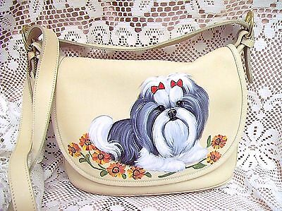 Coach! Shih Tzu Hand Painted Shoulder Bag Best On Ebay Realistic Art Nwot