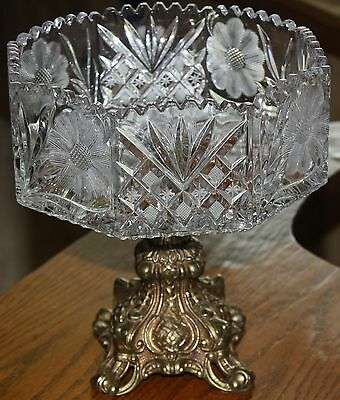 Victorian Crystal Compote Saw Tooth Cut Etched Crystal Octagon Bowl Brass Stand