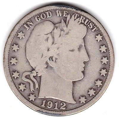 1912 D Barber Half  Dollar US Silver Coin 50 Cents